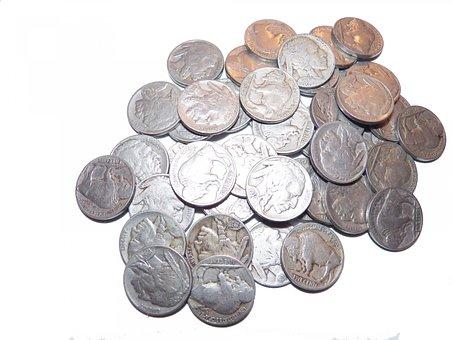 Nickels, Coins, Money, Loot, Change, Indian