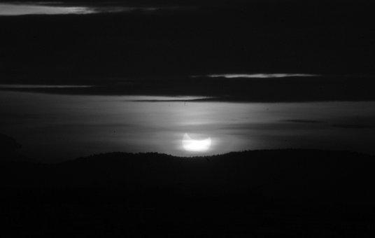 Eclipse, Partial Eclipse, Black And White, Monochrome