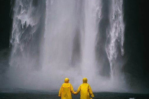 Couple, Holding Hands, People, Raincoat