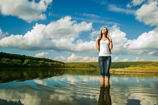 Sky, River, Nega, Woman, Girl, Good Weather, Reflection