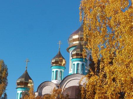 Autumn, Church, Birch, Yellow, Gold, Temple