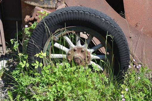 Nature, Spring, Tires, Veteran, Retro, Wood, Flowers