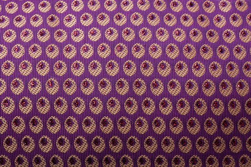 Tissue, Woven, Oval, Violet, Gold, Red, Glazed Includes