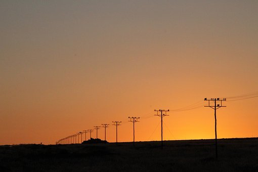 Power Poles, Utility Poles, Electrical Towers, Dusk