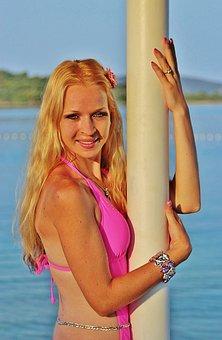 Grape Girl, Smile, Beauty, Sexy, Pink Bikini