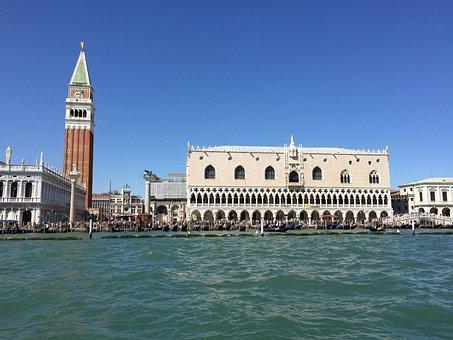 Venice, Venezia, Doge's Palace, Water, Campanile