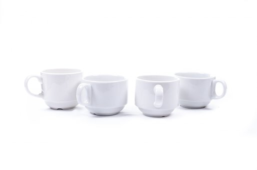 Mug, Cup, White, Porcelain, Front, Close-up, Isolated