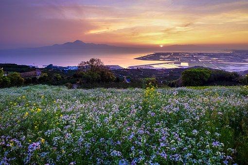 Hill Of The Narcissist, Japan, Kumamoto, Sunset