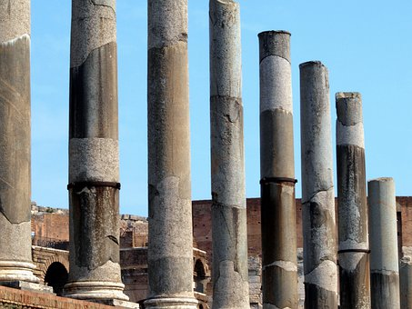 Rome, Italy, Temple Of Venus, Columns, Roman