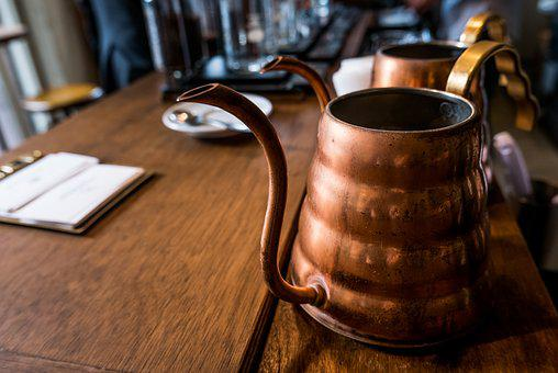Copper Pot, Desk, Kitchenware, Old, Rustic, Table