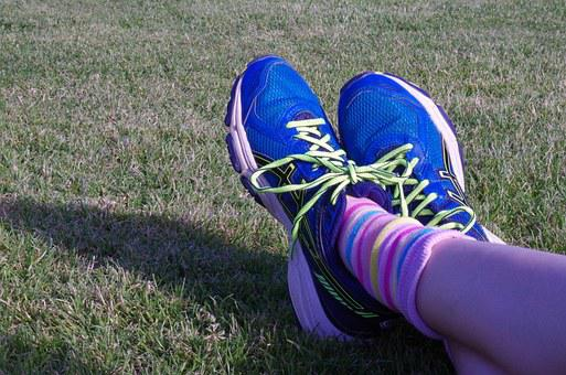 Legs, Trainers, Grass, Shoes