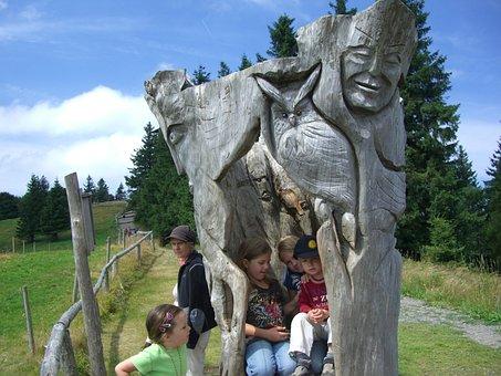 Sculpture, Log, Wood, Carving, Mask, Eagle Owl
