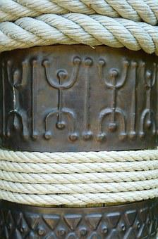 Sign, Rope, Africa, Metal, Detail, Column, Figurine