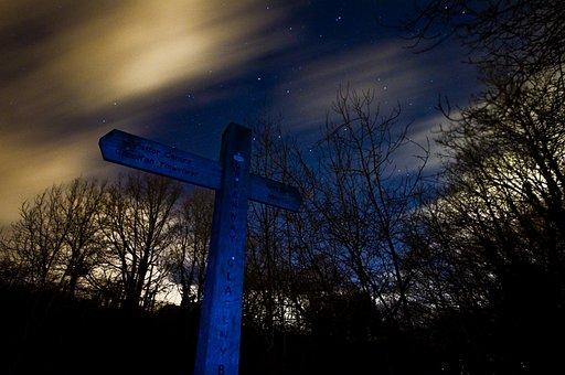 Cross, Clouds, Long Exposure, Night, Sky, Landscape