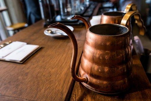 Copper Pot, Desk, Kitchenware, Old, Rustic, Table