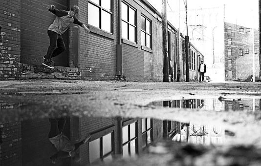Skate, Alley, Rain, Puddle