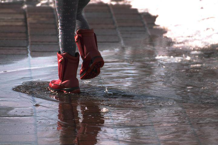 Boots, Splash, Rain, Puddle, Fun, Rubber, Wet, Water