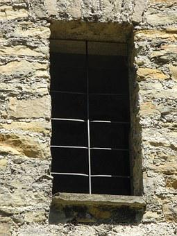 Window, Castle, Stone, Grid, Light, Shadow, Old