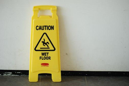 Posted Warning, Wet Floor, Caution, Sign