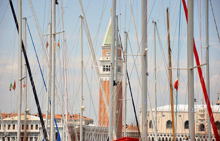 Venice, St Mark's, Boats And Campanile