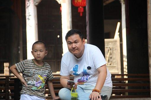 China, Culture, Father, Child, Street, People, Curious