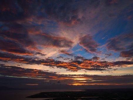 Japan, Sunset, Kumamoto, Sky, Cloud, Sea, Kawachi