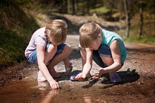 Children, Girl, Water-based Paints, Puddle, Water
