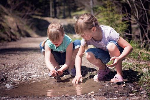 Human, Children, Girl, Water, Puddle