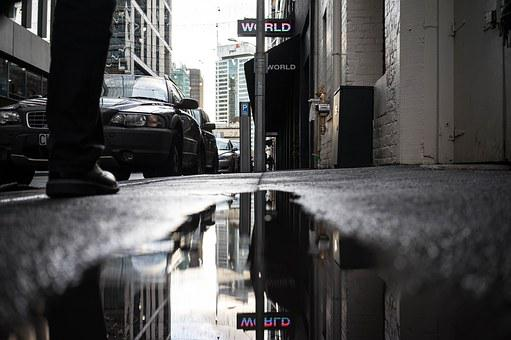Reflection, Puddle, Water, Rain, Road, Wet, Nature
