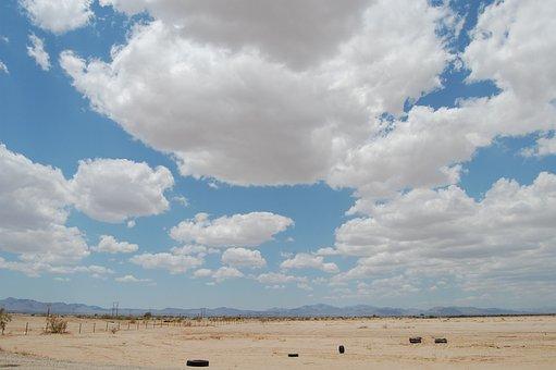 Desert, Clouds, Abandoned, Litter, Landscape, Southwest