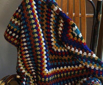Colorful Crocheted Afghan, Afghan, Crochet, Yarn, Craft