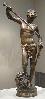 Statue, David, Head, Goliath, Antonin, Mercié