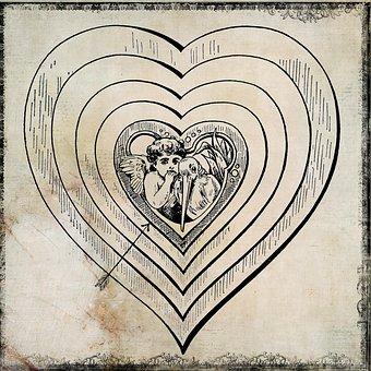 Heart, Drawing, Angel, Vintage, Background, Beige