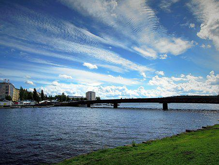 Savonlinna, Bridge, City, Landscape, Beach, Blue, Sky