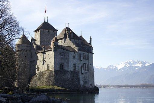 Castle, Montreux, Switzerland, Lake, Chillon, Travel