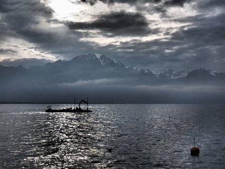 Lake Geneva, Montreux, Mood, Cloudy, Cloudiness