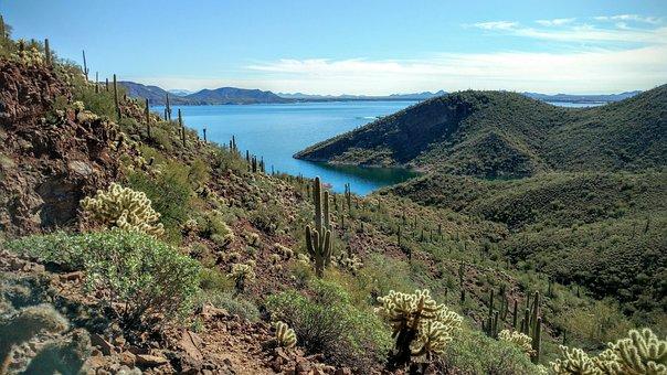 Arizona, Desert, Lake, Landscape, Nature