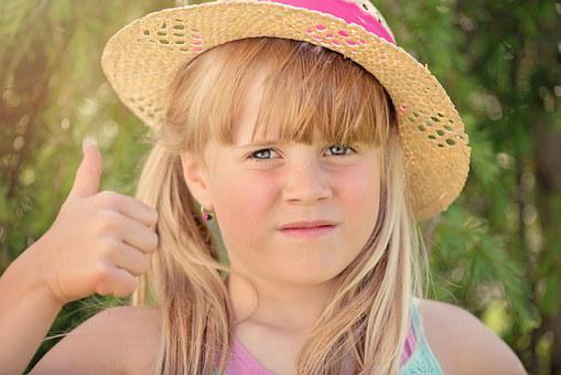 Person, Human, Child, Girl, Hat, Thumbs Up, Face