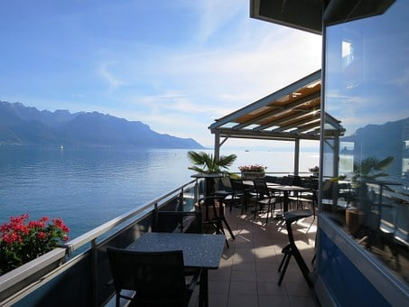 Lake Geneva, Terrace, Sunset, Abendstimmung, Hispanic