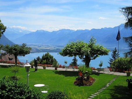 Garden, Lake Geneva, Switzerland, Hotel Victoria, Glion