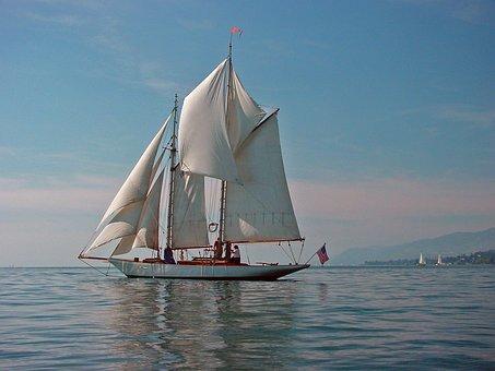 Lake Geneva, Montreux, Switzerland, Sailing Boat, Lake