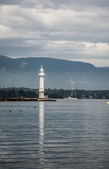 Lighthouse, Port, Lake, Geneva, Water, Exit