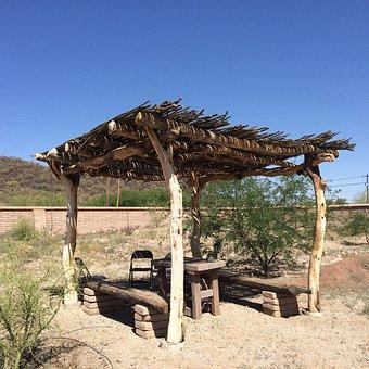 Ramada, Shade, Arid, Desert, Ocotillo Roof