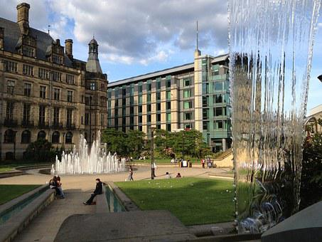 City, Sheffield, Fountain, Park, Old Building, Water