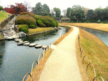 Okayama, Japan, Park, Water, Reflections, Sky, Trees