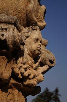 Statue, Head, Facial, Stone, Column, Carved, Putto