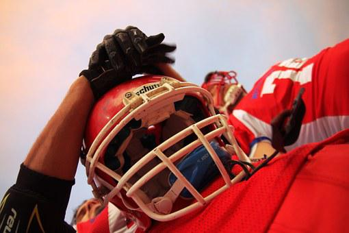 Football, Player, Red, Facemask, Field, Game, Helmet