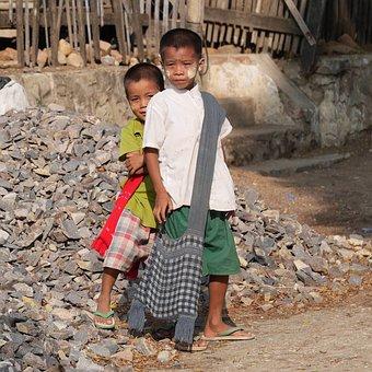 Children, Myanmar, Students, Schulweg, School