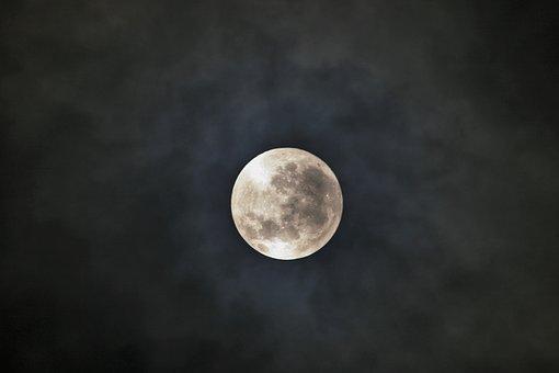 Full Moon, Moon, Night, Sky, Cloudy, Mottled, Foggy