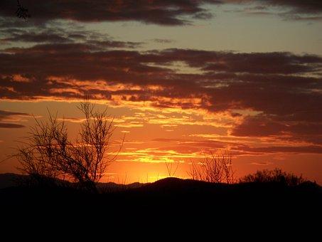 Arizona, Sunset, Landscape, Desert, Southwest, Sky